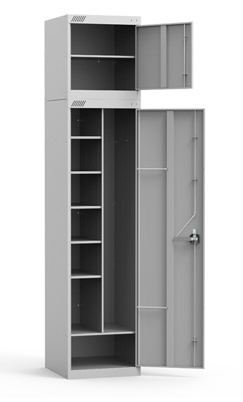 Металлический универсальный шкаф с антресолью купить недорого в Екатеринбурге