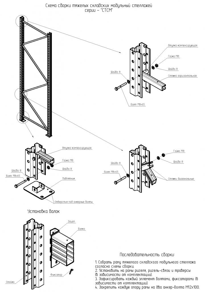 Схема сборки складских модульных стеллажей серии - «СТСМ»